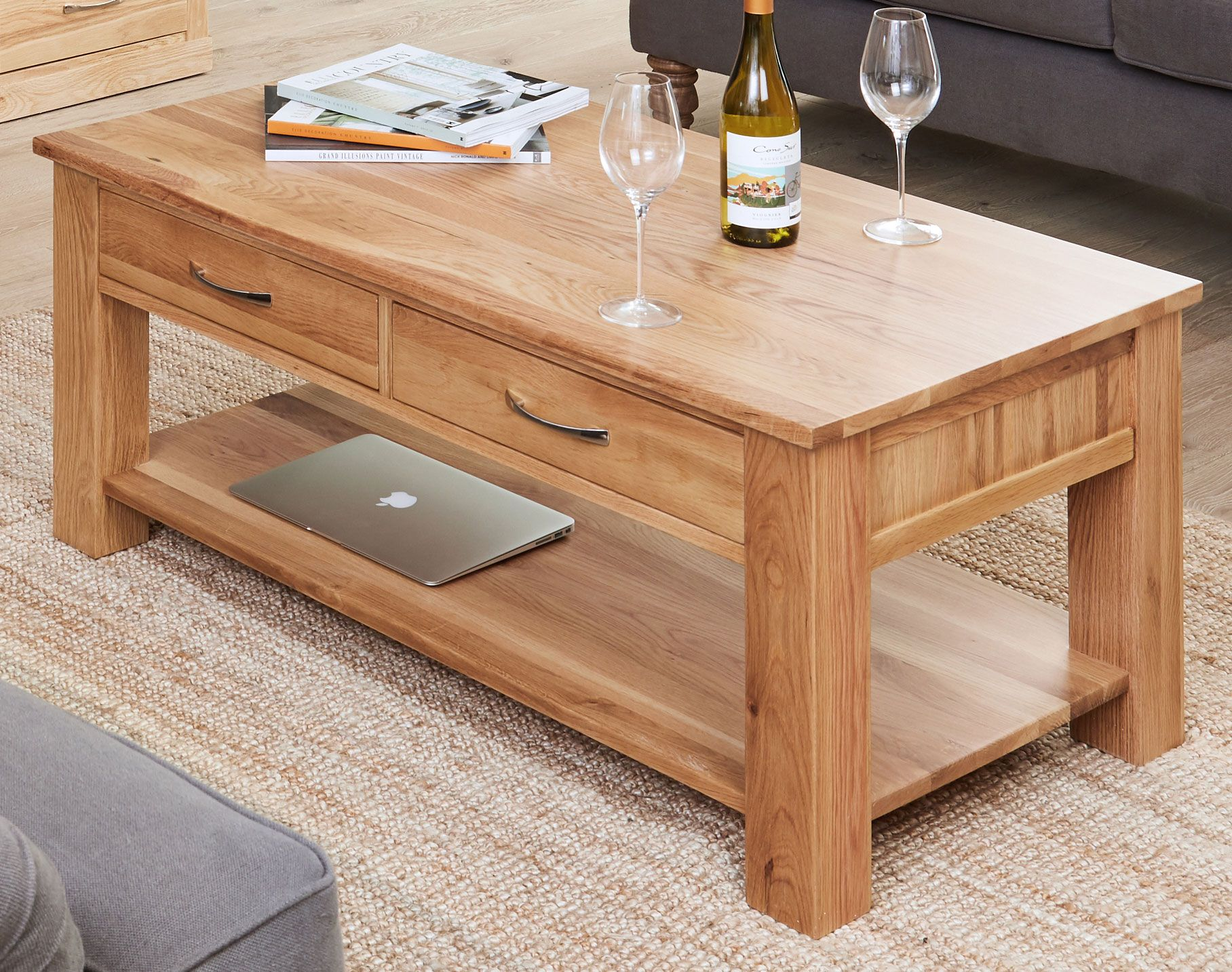 mobel oak 4 drawer coffee table